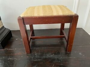 SMALL ANTIQUE VINTAGE MAHOGANY UPHOLSTERED CRICKET FOOTSTOOL