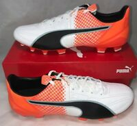 Puma Mens Size 9.5 Evospeed 3.5 FG Leather Soccer Cleats White Orange Black