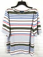 Karen Scott Womens Short Sleeve Multicolor Striped Stretch Top Size 3X NWT