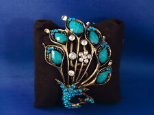 PEACOCK BRACELET turquoise color stones rhinestone blue beads  NEW! jewelry