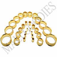 "V054 Gold Double Flare Saddle Flesh Tunnels Earlets Plugs Gauges 10G to 2"" PAIR"
