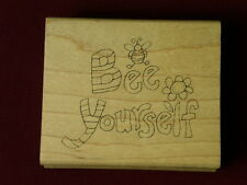 Used Inky Antics Gardening Bumble wording Bee Yourself J1-0784-G Rubber Stamp