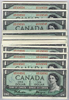 $1 Canada 1954; 50 Consecutive GEM  Notes H/M Prefix