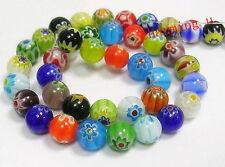 20pz misti perline tondo vetro millefiore 8mm colore vari