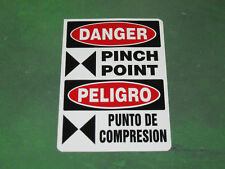 DANGER PINCH POINT SAFETY DECAL STICKER BILINGUAL, FREE SHIPPING! Lot of 5