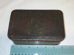 Vintage Antique Bright Tiger Chewing Tobacco Pocket Tin - Neat Owner Note