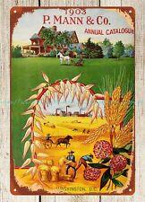 1903 seeds implements Washington D.C. P. Mann Co. 1903 farm scene metal tin sign