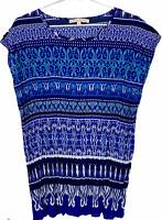 Noni B Womens Blue Floral Cap Sleeve Blouse Size 10