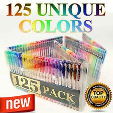 125 Glitter Gel Pen Set Adult Coloring Book Deluxe Art Color More Ink