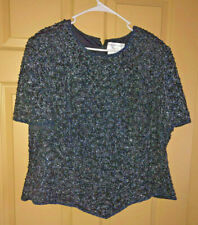 PAPELL BOUTIQUE Black 100% SILK Bugle  Beaded Embroidered Top Sz 2X