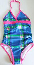 U.s. polo assn filles bleu tartan à carreaux plissé dos nu maillot de bain taille 2 ans neuf