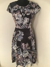 Laura Ashley Silk Dress Womens Size 12 Floral Swing Party Valentines Wedding