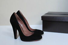 New sz 6 / 36 Azzedine Alaia Black Suede Platform Classic Pump Chunck Heel Shoes