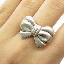 Vtg 925 Sterling Silver Unique Design Bow Ring Size 7
