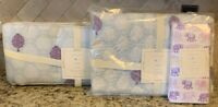 NEW 3PC Pottery Barn Kids Stella Crib Quilt Fitted Sheet + Bumper LAVENDER BLUE