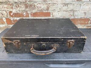 Vintage Wooden Storage Chest Case Carpenters Tool Box Boho Timeworn Rustic
