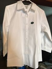 LL Bean White Cotton Wrinkle Free Pinpoint Oxford Button Up 3/4 Sleeve Top NWT