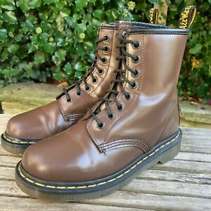 Dr Martens 1460 Smooth Brown Leather Ankle Boots docs 8 eye hole Size UK 4 EU 37