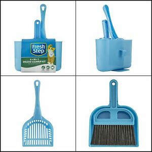 Cat Litter Box Deluxe Feces Cleanup Kit Pooper Scooper Dust Pan Broom and Caddy
