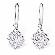 925 Genuine Sterling Silver Small Lotus Flower Filigree Drop Dangle Earrings