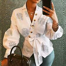 Ladies V-Neck Button Decor Lantern Sleeve Blouse