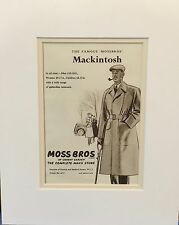 Vintage Advert mounted ready to frame Men's Fashion Moss Bros Mackintosh1955