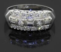 Antique 14K white gold 0.45CT VS1/F diamond cluster cocktail ring size 6.5