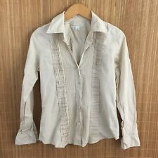 BANANA REPUBLIC Taupe Small Button Down Long Sleeve Pleated Shirt Top *Read B15