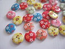 Wooden Decorated Buttons - 20 per pack **NEW**  PRETTY FLORAL [B9]