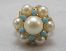 AVON GOLD FILLED PETITE LADIES CLUSTER RING WITH CREATED PEARLS **