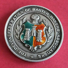 DEVON FEDERATION OF MASTER BAKERS 1939 45mm SILVER MEDAL WITH ENAMEL - vaughton