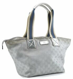 Authentic GUCCI Shoulder Tote Bag GG Canvas Leather 131230 Silver D8973