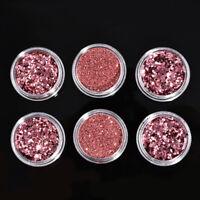 6PCS Nail Art Glitter Powder Shiny Sequins Red Pink Purple Manicure Decorations