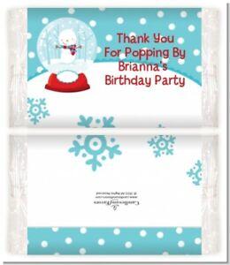 Snow Globe Winter Wonderland - Custom Birthday Party Popcorn Wrappers-Set of 12