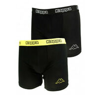 Kappa Mens 2 Pack Boxer Shorts Black Yellow Sports Underwear Classic Logo Boxers