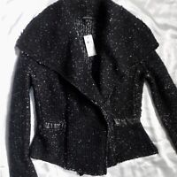 Ann Taylor Black Chunky Womens Sweater Jacket Open Front Sz XS Faux Leather Trim