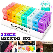 Monthly Pill Organizer Box Each Day 32pcs Compartment For Tablet Pill Box Holder