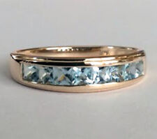 R308 Genuine 9ct, 14K, 18K Gold Natural Aquamarine Channel set Wedding Band Ring