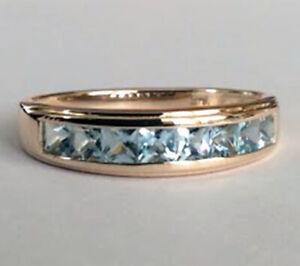 R308 Genuine 9ct, 14K, 18K Gold Natural Aquamarine Channel set Wedding Band Ring