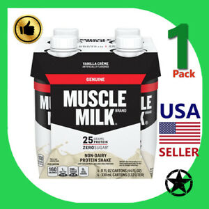 1 Pack Muscle Milk Non Dairy Protein Shake Vanilla Creme 11 fl oz 4 Count Bottle