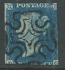 GB QV 1840 2d blue SG4 with clear central black Maltese good used. (5629)
