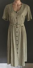 Vintage THE DRESS COMPANY by STITCHES Khaki & White Check Belted Dress Size 12