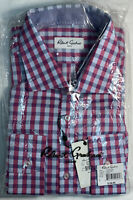 "Robert Graham ""Silvester"" Gray/Pink Checked L/S Button Shirt Mens 17.5/44 XL New"