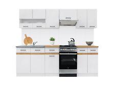 Complete White Gloss Golden Oak Kitchen Cabinets Set 7 Units Cupboards Junona