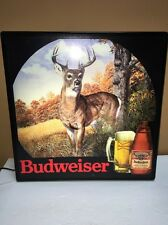 Vintage 1985 Budweiser Beer lighted DEER hunting SIGN whitetail buck