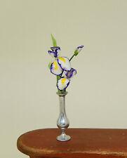 Vintage Hand Sculpted Iris Flowers In Bud Vase Artisan Dollhouse Miniature 1:12