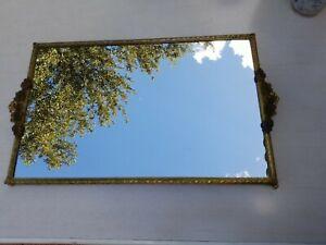 Vintage Large Mirrored Vanity Mirror Gold Brass Rectangle Mid Century