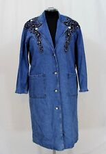 NOS Mass Womens Denim Duster Western Blue Coat Sz Medium Embellished Jewelled