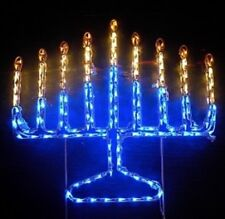 Jewish Hanukkah Menorah Outdoor LED Lighted Decoration Steel Wireframe