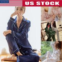 Womens Silk Satin Pajamas Pyjamas Set Long Sleeve Sleepwear Pijama Pajamas Suit